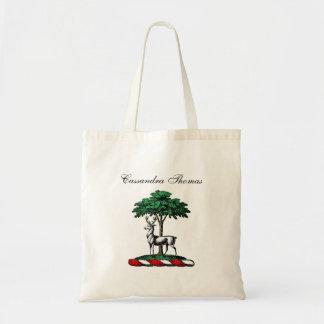 Deer Stag by Tree Heraldic Crest Emblem Tote Bag