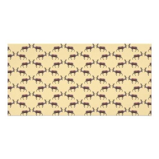 Deer Stag Pattern on Beige. Photo Card Template