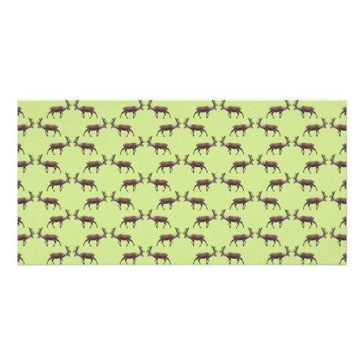 Deer Stag Pattern on Green. Custom Photo Card