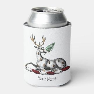 Deer Stag with Fern Heraldic Crest Emblem Can Cooler