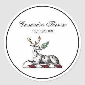 Deer Stag with Fern Heraldic Crest Emblem Classic Round Sticker