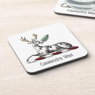 Deer Stag with Fern Heraldic Crest Emblem Coaster