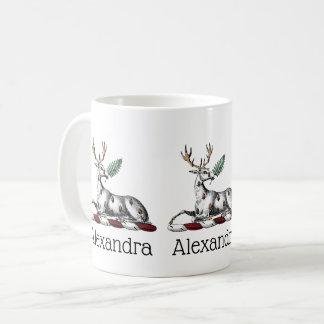 Deer Stag with Fern Heraldic Crest Emblem Coffee Mug