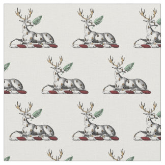 Deer Stag with Fern Heraldic Crest Emblem Fabric