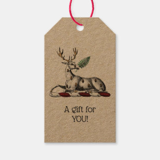 Deer Stag with Fern Heraldic Crest Emblem Gift Tags