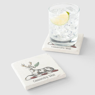 Deer Stag with Fern Heraldic Crest Emblem Stone Coaster