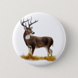 Deer standing alone on customizable products 6 cm round badge