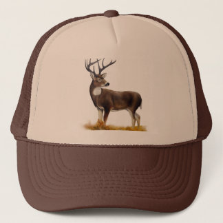 Deer standing alone on customizable products trucker hat