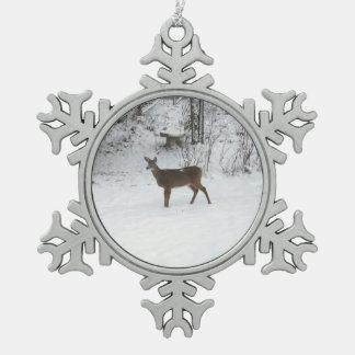 Deer Standing Watch in Snow Snowflake Pewter Christmas Ornament
