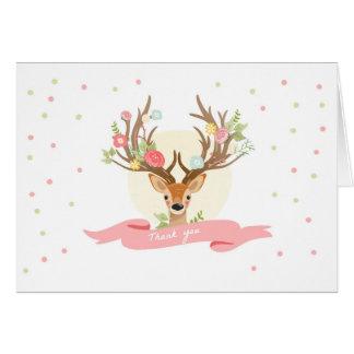 Deer Thank you card Woodland Buck Antlers Floral