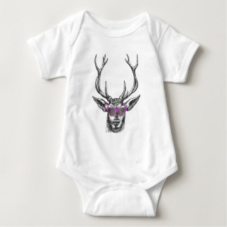 Deer wearing Pink Sunglasses Baby Bodysuit
