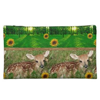 deer wildlife girls baggette cosmetic bag