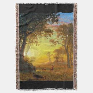 Deer Wildlife Meadow Light Forest Throw Blanket