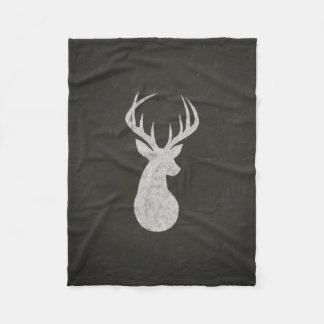 Deer With Antlers Chalk Drawing Fleece Blanket