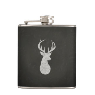 Deer With Antlers Chalk Drawing Hip Flask