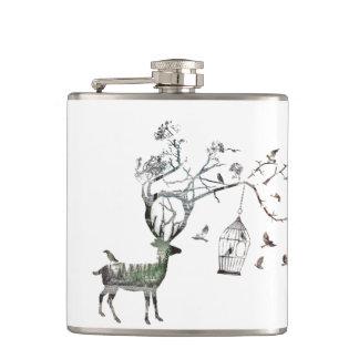 Deer with Birds Flask