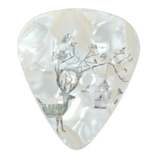 Deer with Birds Pearl Celluloid Guitar Pick