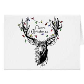 Deer with Christmas Lights Card