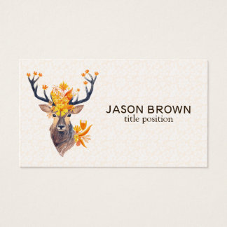 Deer With Floral Horns Business Card