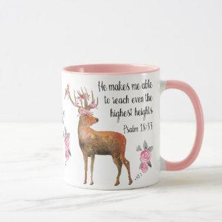 Deer with Flower Crown Psalm 18:33 Mug