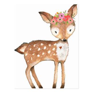 deer with flowers 0 handpainted print gifts postcard