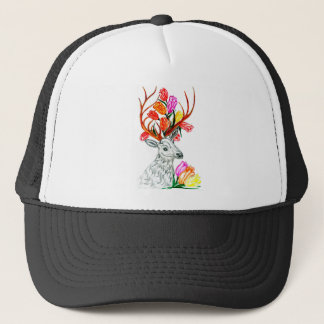 Deer with Flowers Trucker Hat
