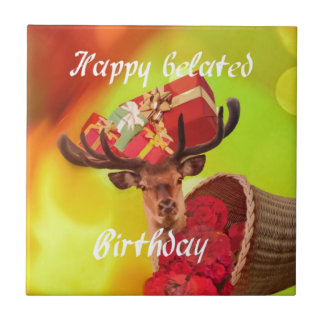 Deer with gifts in belated birthday. small square tile
