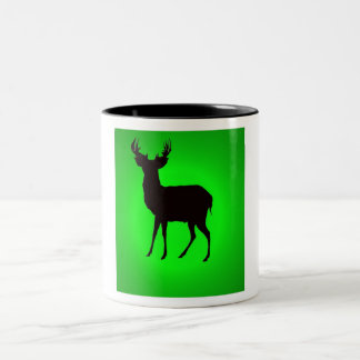 deer with green background image on cup