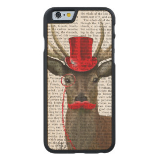 Deer with Red Top Hat and Moustache Carved® Maple iPhone 6 Slim Case