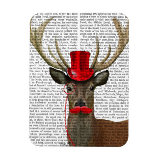 Deer with Red Top Hat and Moustache Rectangular Photo Magnet