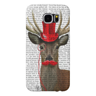 Deer with Red Top Hat and Moustache Samsung Galaxy S6 Cases