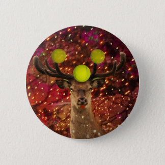 Deer with tennis balls in a shining forest . 6 cm round badge