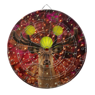 Deer with tennis balls in a shining forest . dartboard