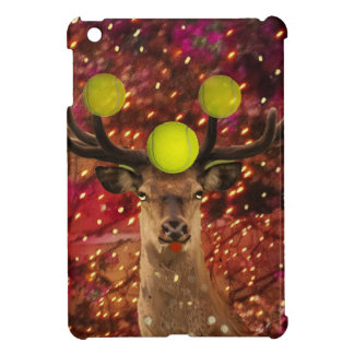 Deer with tennis balls in a shining forest . iPad mini cover