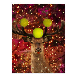 Deer with tennis balls in a shining forest . postcard