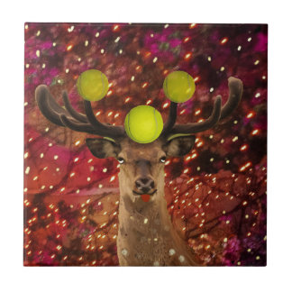 Deer with tennis balls in a shining forest . tile