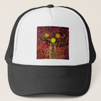 Deer with tennis balls in a shining forest . trucker hat
