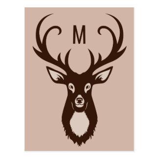 Deer with Your Monogram custom postcard