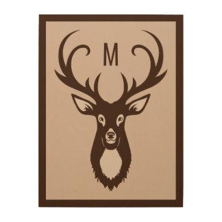 Deer with Your Monogram custom wood panel