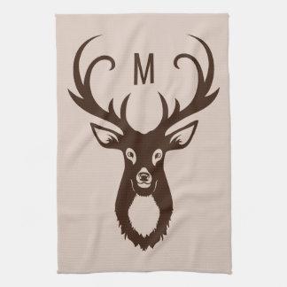 Deer with Your Monogram hand towel