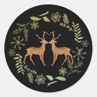 Deer Wreath Christmas Stickers