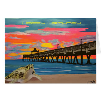 Deerfield Beach Pier Pop! painting on a Birthday C Card