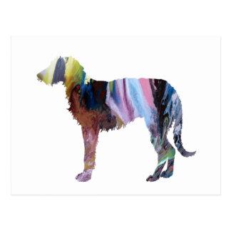 Deerhound art postcard