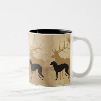 Deerhound & deer Two-Tone coffee mug