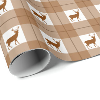 Deers and brown plaid pattern wrapping paper