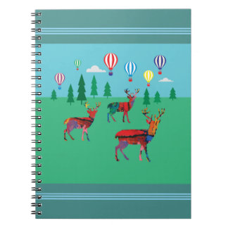 Deers & Hot Air Balloons Notebook