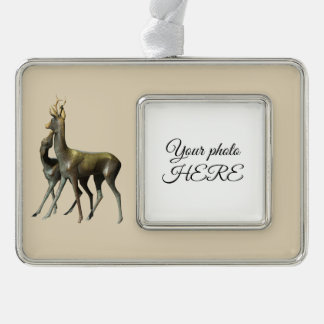 Deers in love silver plated framed ornament