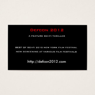 Defcon 2012, A FEATURE SCI-FI THRILLER Business Card