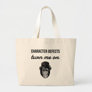 defect monkey large tote bag