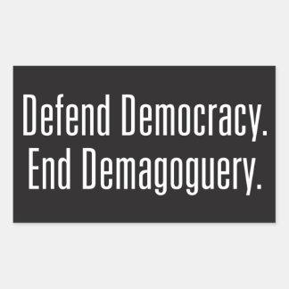 Defend Democracy / End Demagoguery Dark Stickers